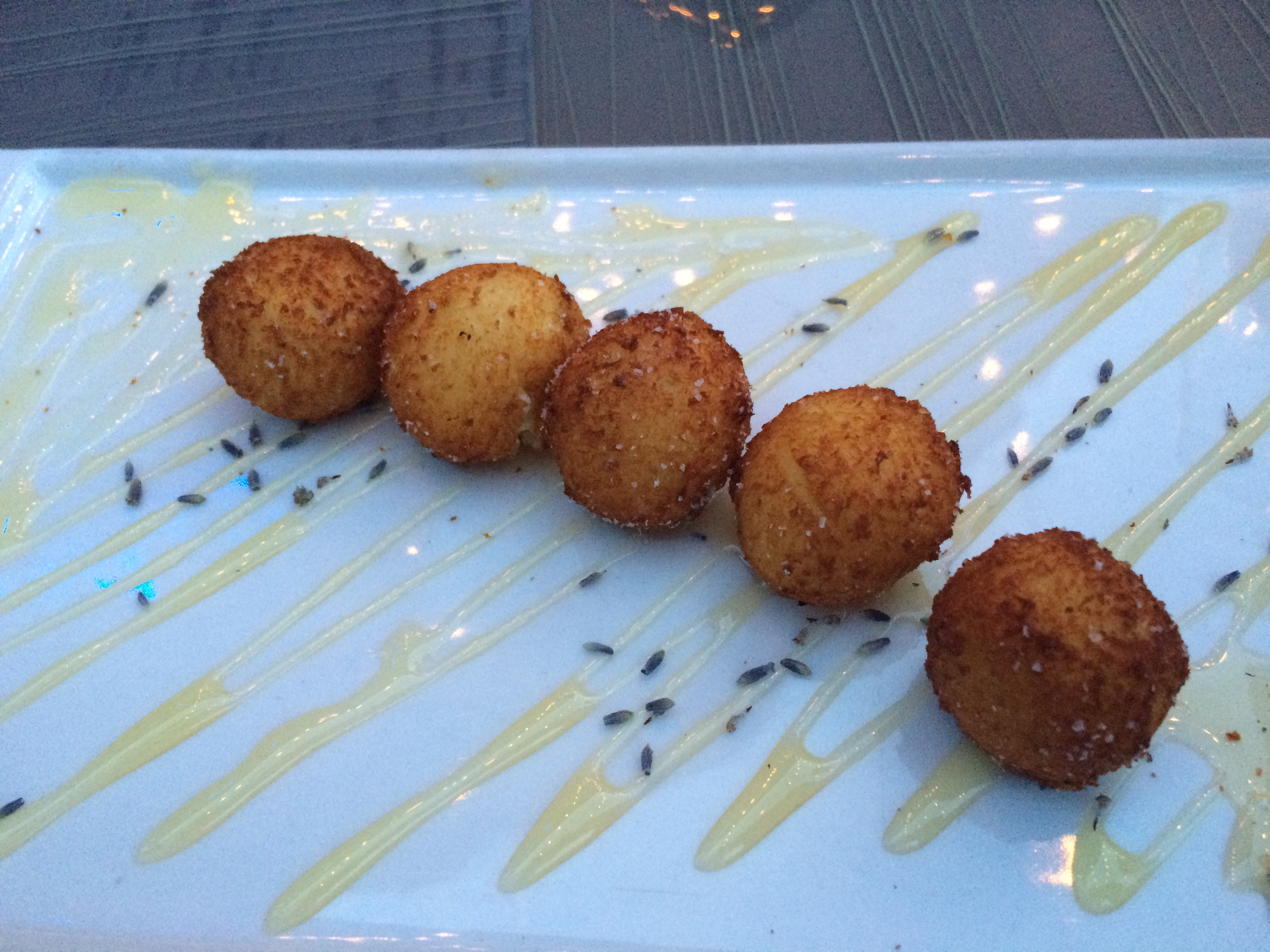 Goat Cheese Croquettes with Lavender Honey.
