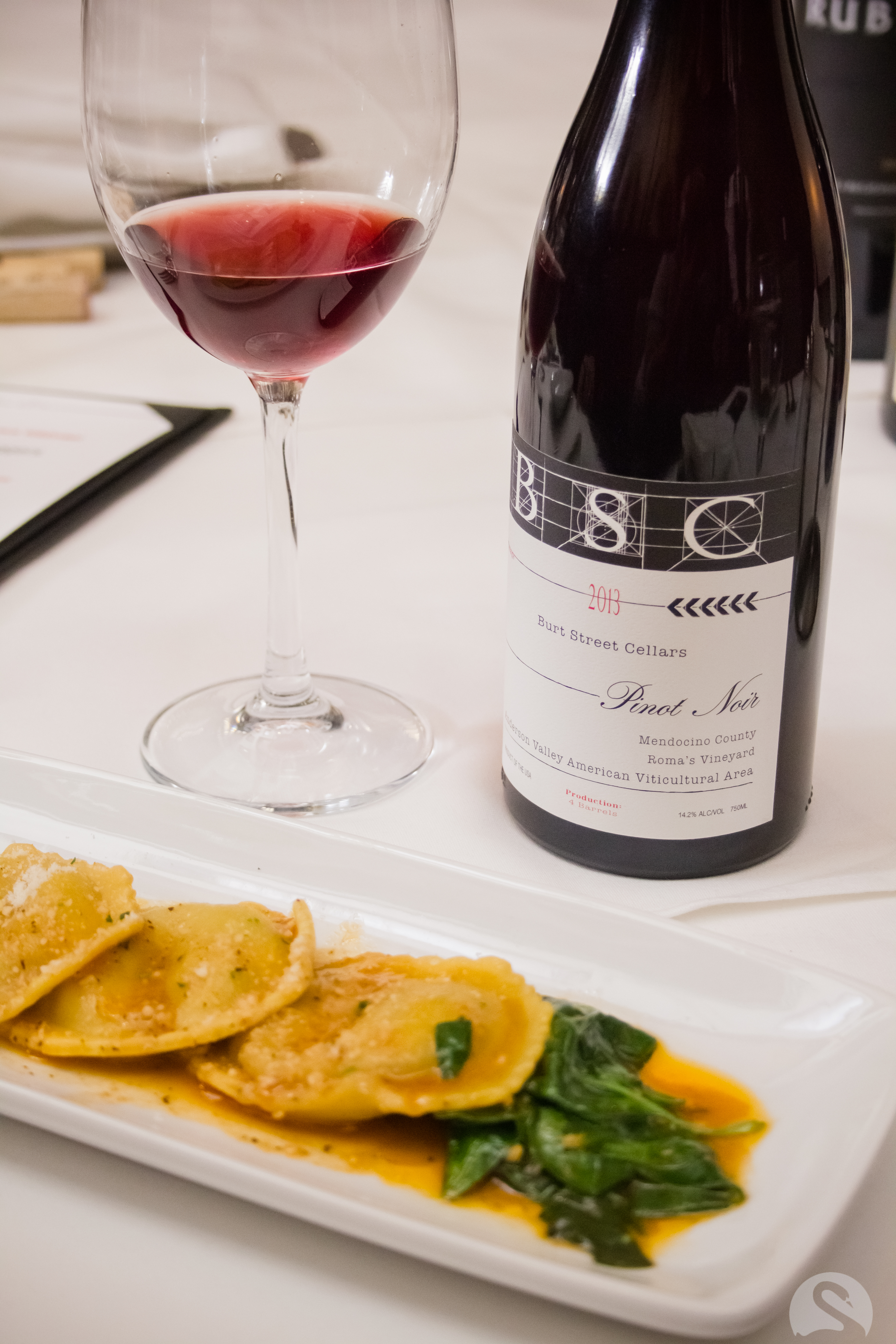 Bert Street Pinot served with Ravioli